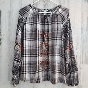 Christopher&Banks Plaid Embroidered Top
